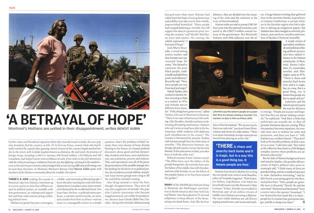 Article Preview: 'A BETRAYAL OF HOPE', March 2004 | Maclean's