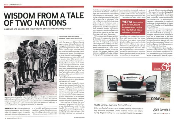 Article Preview: WISDOM FROM A TALE OF TWO NATIONS, March 2004 | Maclean's