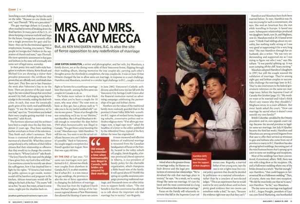 Article Preview: MRS. AND MRS. IN A GAY MECCA, March 2004 | Maclean's