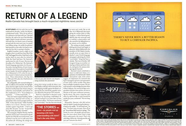 Article Preview: RETURN OF A LEGEND, March 2004 | Maclean's