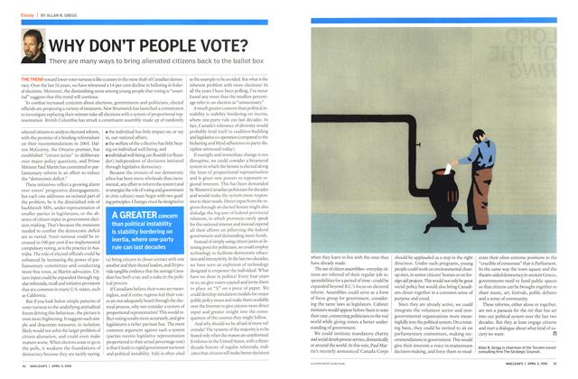 Article Preview: WHY DON'T PEOPLE VOTE?, April 2004 | Maclean's