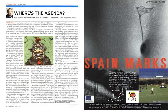 Article Preview: WHERE'S THE AGENDA?, April 2004 | Maclean's