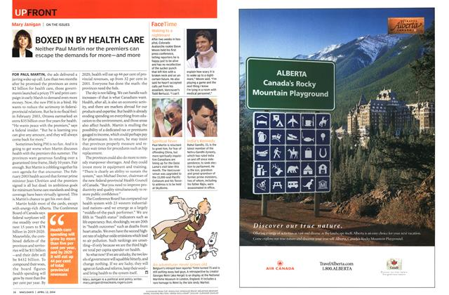 Article Preview: BOXED IN BY HEALTH CARE, April 2004 | Maclean's