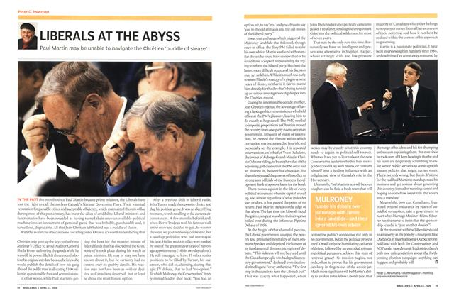 Article Preview: LIBERALS AT THE ABYSS, April 2004 | Maclean's