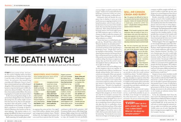 Article Preview: THE DEATH WATCH, April 2004 | Maclean's