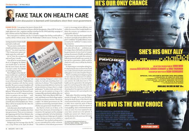 Article Preview: FAKE TALK ON HEALTH CARE, May 2004 | Maclean's