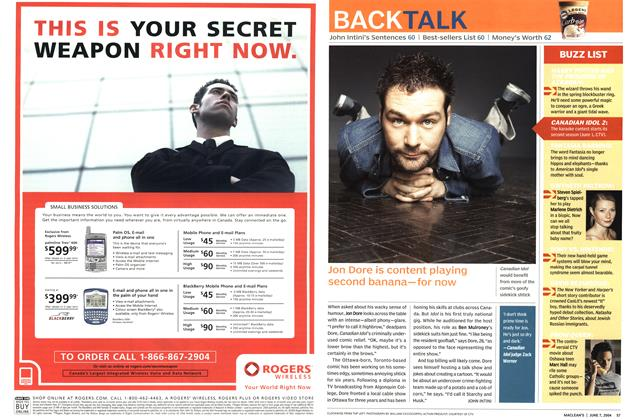 Article Preview: Jon Dore is content playing second banana—for now, June 2004 | Maclean's