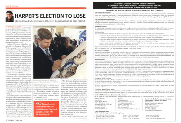 Article Preview: HARPER'S ELECTION TO LOSE, June 2004 | Maclean's