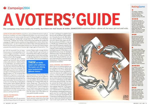 Article Preview: A VOTERS' GUIDE, July 2004 | Maclean's