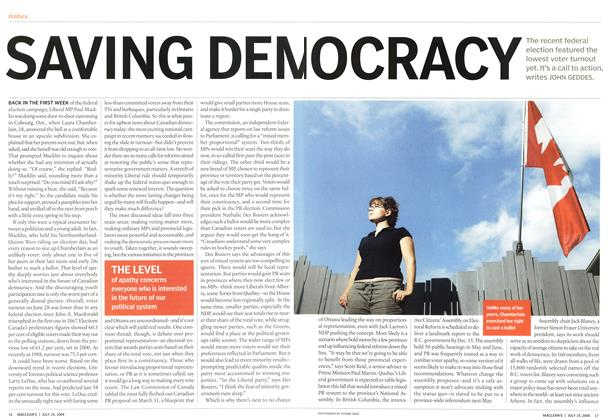 Article Preview: SAVING DEMOCRACY, July 2004 | Maclean's