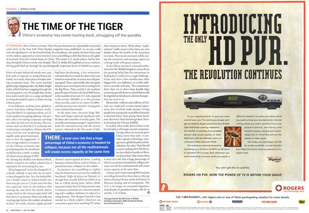 Article Preview: THE TIME OF THE TIGER, July 2004 | Maclean's