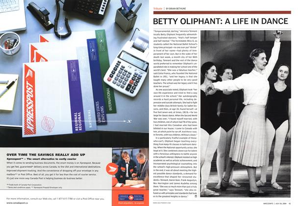 Article Preview: BETTY OLIPHANT: A LIFE IN DANCE, July 2004 | Maclean's