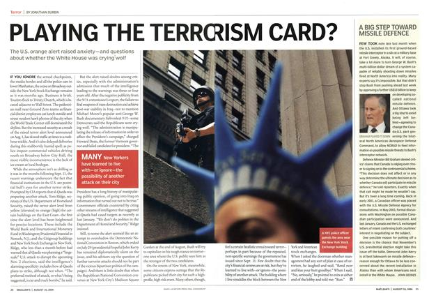 Article Preview: PLAYING THE TERRO RISM CARD?, August 2004 | Maclean's