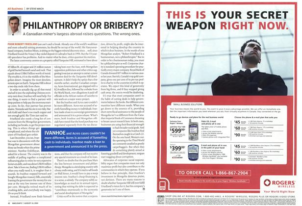 Article Preview: PHILANTHROPY OR BRIBERY?, August 2004 | Maclean's