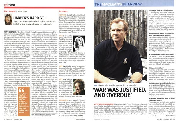 Article Preview: HARPER'S HARD SELL, August 2004 | Maclean's