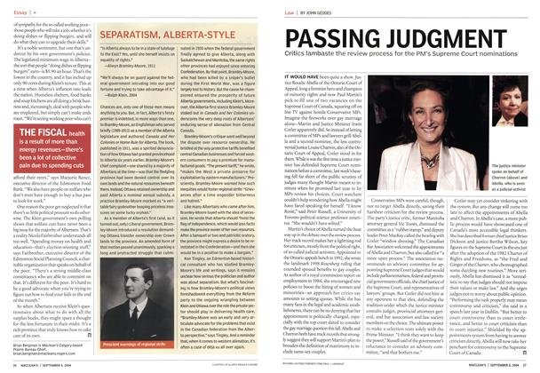Article Preview: PASSING JUDGMENT, September 2004 | Maclean's