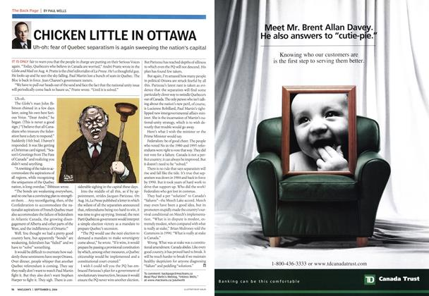 Article Preview: CHICKEN LITTLE IN OTTAWA, September 2004 | Maclean's
