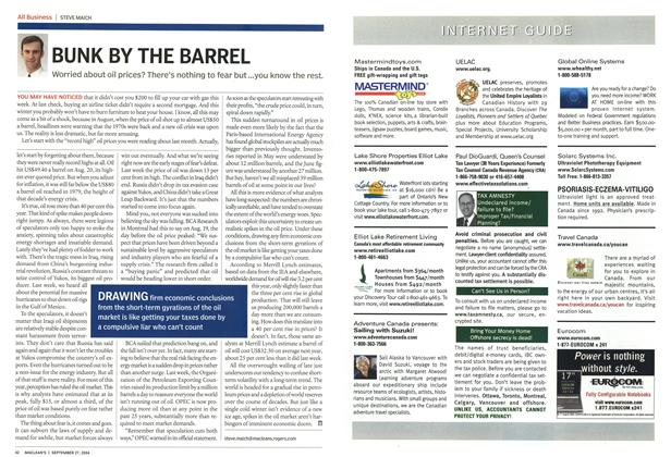 Article Preview: BUNK BY THE BARREL, September 2004 | Maclean's