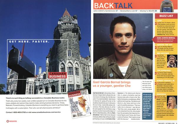 Article Preview: Gael García Bernal brings us a younger, gentler Che, October 2004 | Maclean's