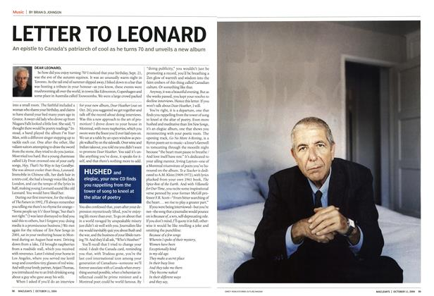 Article Preview: LETTER TO LEONARD, October 2004 | Maclean's
