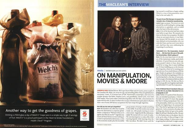 Article Preview: ON MANIPULATION, MOVIES & MOORE, October 2004 | Maclean's