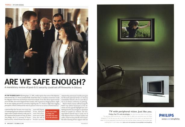 Article Preview: ARE WE SAFE ENOUGH?, October 2004 | Maclean's