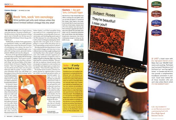 Article Preview: Rock 'em, sock 'em oenology, October 2004 | Maclean's