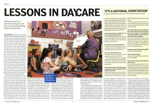 Article Preview: LESSONS IN DAYCARE, November 2004 | Maclean's