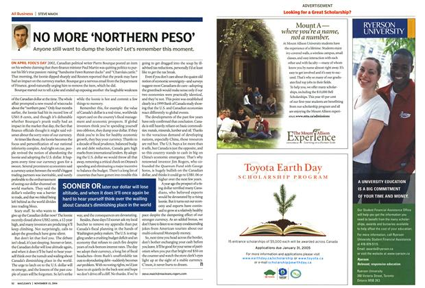 Article Preview: NO MORE 'NORTHERN PESO', November 2004 | Maclean's