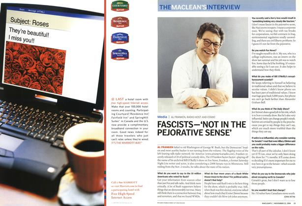 Article Preview: FASCISTS—'NOT IN THE PEJORATIVE SENSE', November 2004 | Maclean's