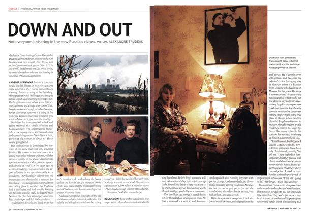 Article Preview: DOWN AND OUT, November 2004 | Maclean's
