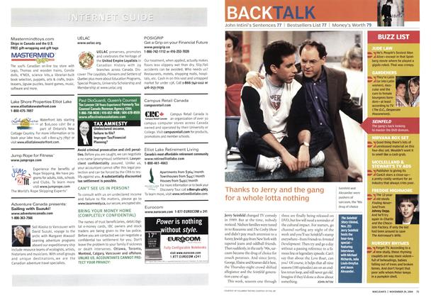 Article Preview: Thanks to Jerry and the gang for a whole lotta nothing, November 2004   Maclean's