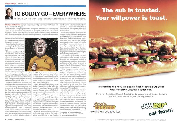 Article Preview: TO BOLDLY GO—EVERYWHERE, November 2004 | Maclean's