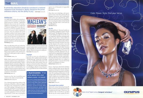 Article Preview: THE MAIL, November 2004 | Maclean's