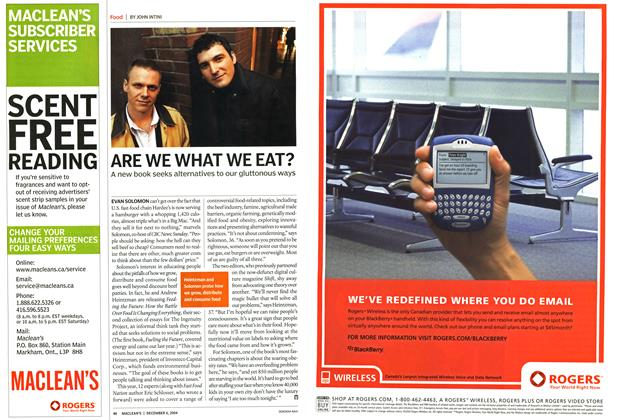 Article Preview: ARE WE WHAT WE EAT?, December 2004 | Maclean's