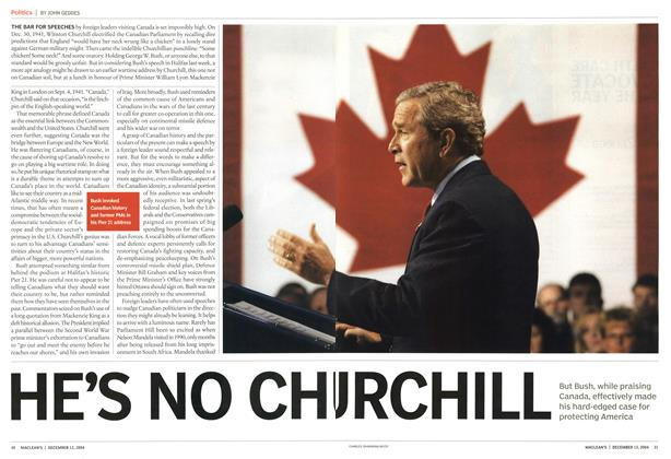 Article Preview: HE'S NO CHURCHILL, December 2004 | Maclean's