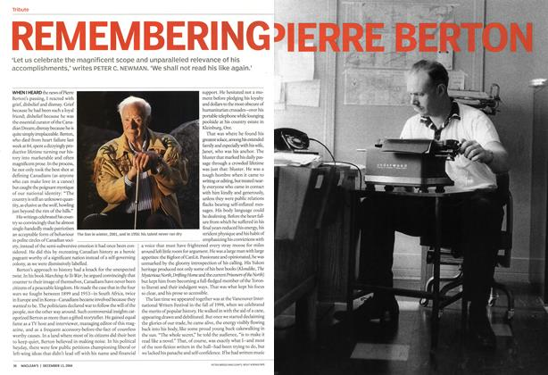Article Preview: REMEMBERING PIERRE BERTON, December 2004 | Maclean's