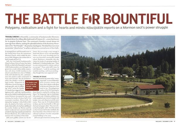 Article Preview: THE BATTLE FOR BOUNTIFUL, December 2004 | Maclean's