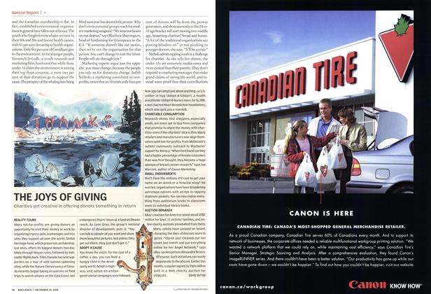 Article Preview: THE JOYS OF GIVING, December 2004 | Maclean's