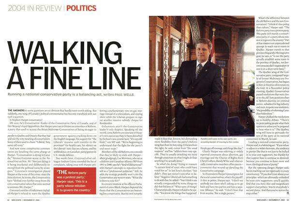 Article Preview: WALKING A FINE LINE, December 2004 | Maclean's