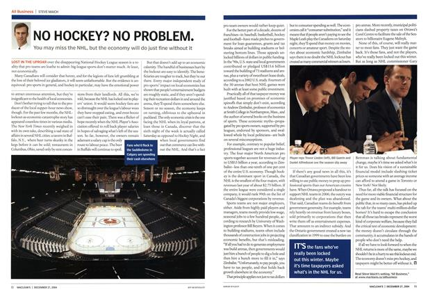 Article Preview: NO HOCKEY? NO PROBLEM., December 2004 | Maclean's