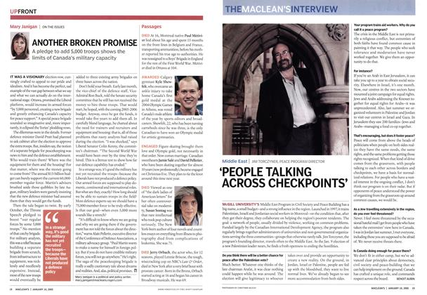 Article Preview: 'PEOPLE TALKING ACROSS CHECKPOINTS', January 10th 2005 | Maclean's