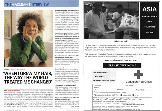 Article Preview: 'WHEN I GREW MY HAIR, THE WAY THE WORLD TREATED ME CHANGED', January 17th 2005 | Maclean's