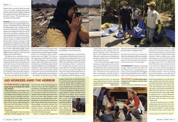 Article Preview: AID WORKERS AMID THE HORROR, January 17th 2005 | Maclean's