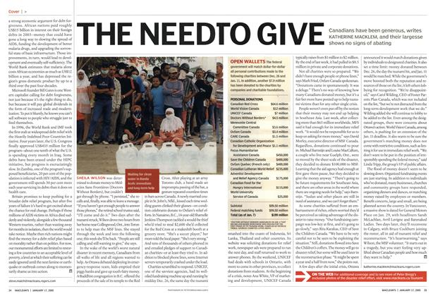 Article Preview: THE NEED TO GIVE, January 17th 2005 | Maclean's