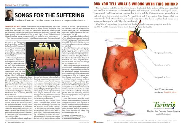 Article Preview: SONGS FOR THE SUFFERING, January 17th 2005 | Maclean's