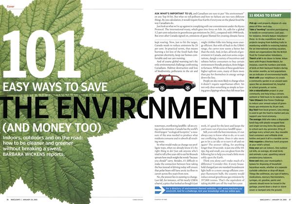 Article Preview: 101 EASY WAYS TO SAVE THE ENVIRONMENT (AND MONEY TOO), January 24th 2005 | Maclean's