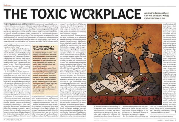 Article Preview: THE TOXIC WORKPLACE, January 31st 2005 | Maclean's