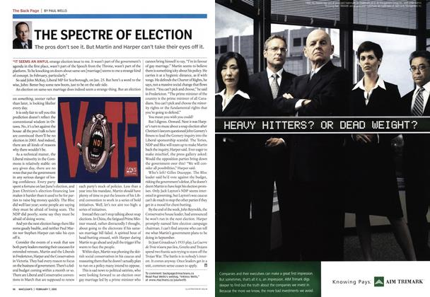 Article Preview: THE SPECTRE OF ELECTION, February 2005 | Maclean's