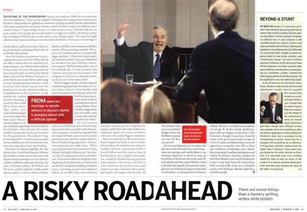 Article Preview: A RISKY ROAD AHEAD, February 21st 2005 | Maclean's